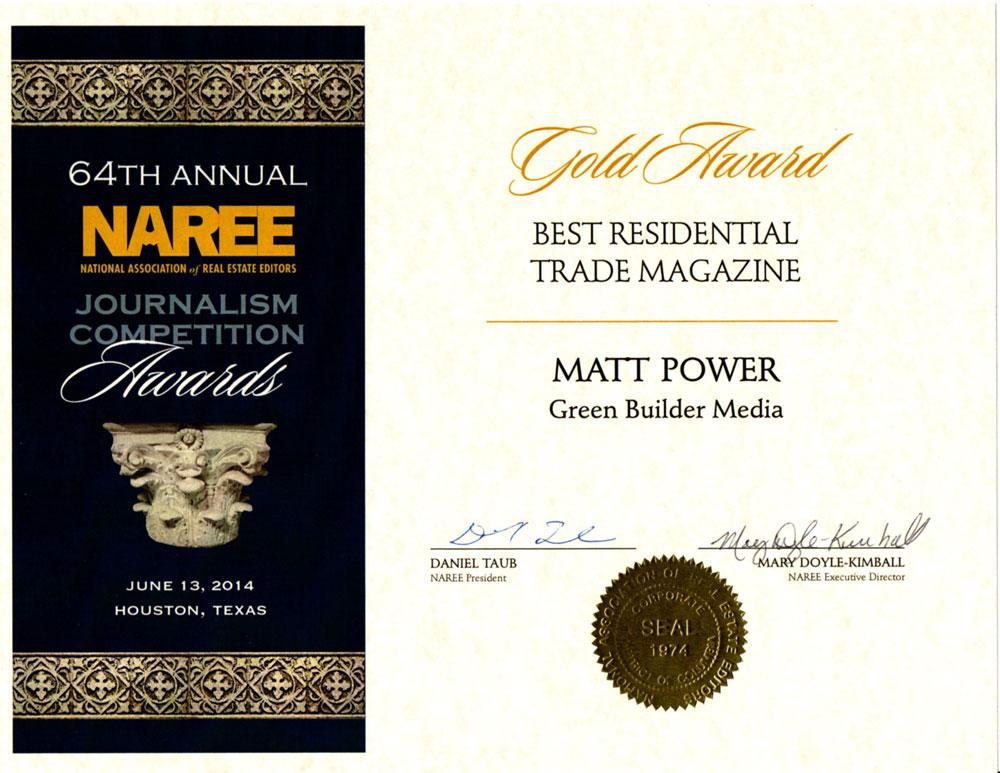 Green Builder Wins Best Residential Trade Magazine Gold