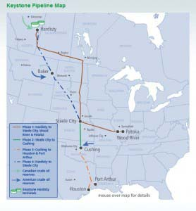 Keystone Pipline map