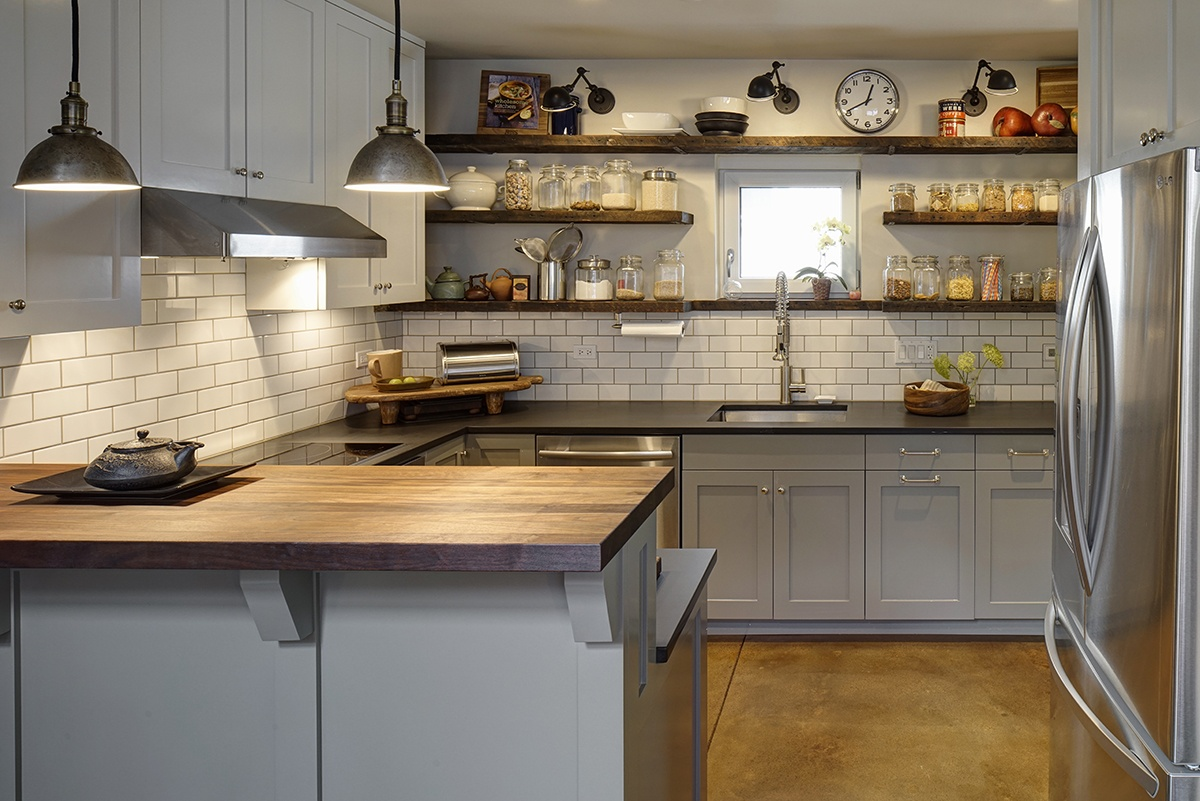 web-Oak Park Right Sized Home - Kitchen with Reclaimed Shelves