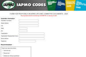 IAPMO Form for Proposals