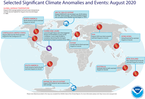Significant Climate Anomalies and Events August 2020