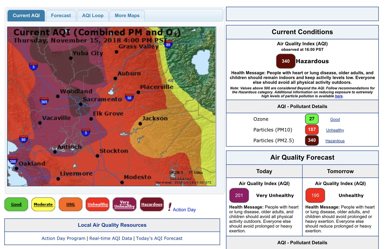 air quality index shows wildfire pollution