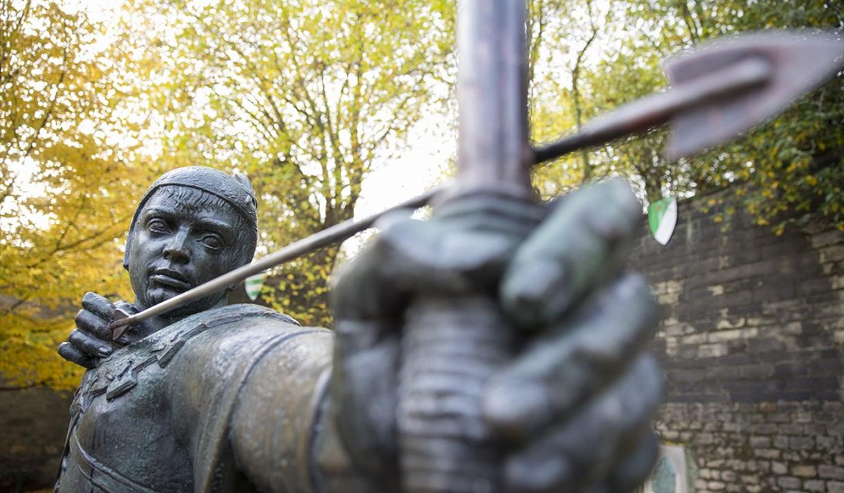 robin hood statue nottingham goes green