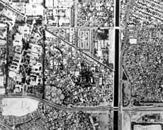 Aerial view of land divisions in Rancho Los Alamitos, California, in the 1990s.