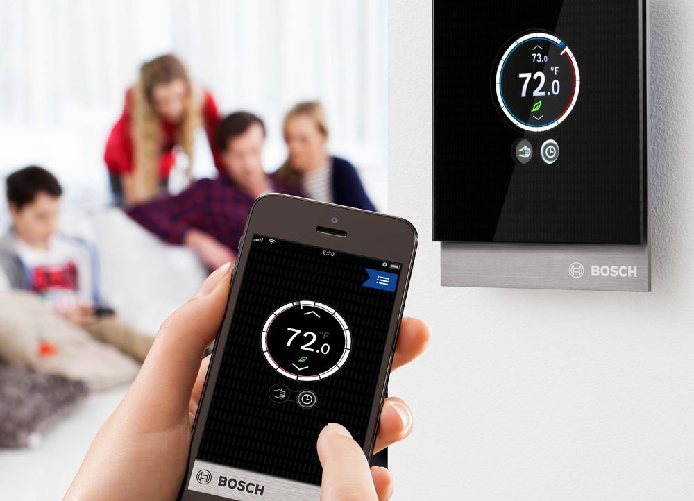 new bosch thermostat gives homeowners remote operation of buderus boilers. Black Bedroom Furniture Sets. Home Design Ideas